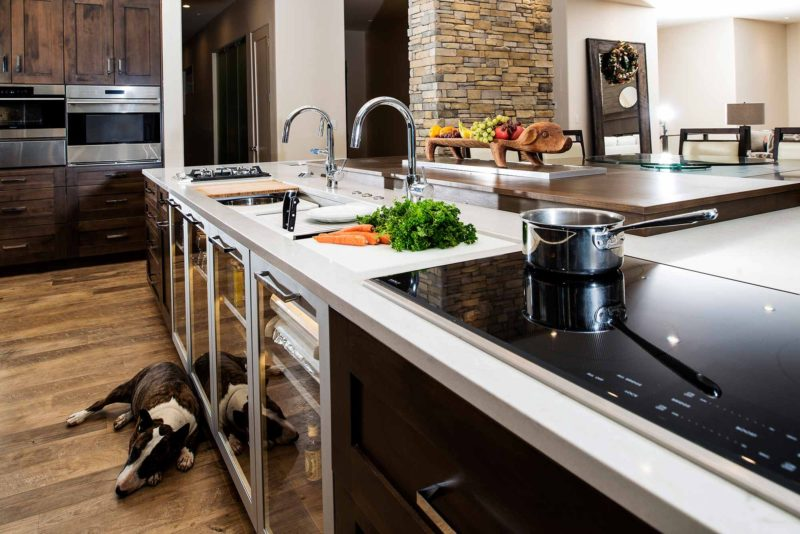 Heart of the Treehouse 10 modern kitchen with Galley Workstation large kitchen sink and induction cooking on the island and lighted storage below