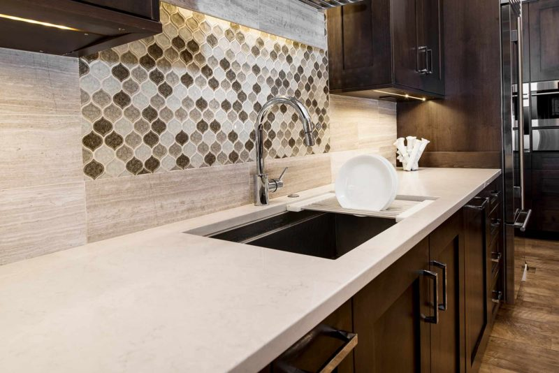 Heart of the Treehouse 9 modern kitchen with Galley Workstation cleanup kitchen sink with tile backsplash and open shelves above