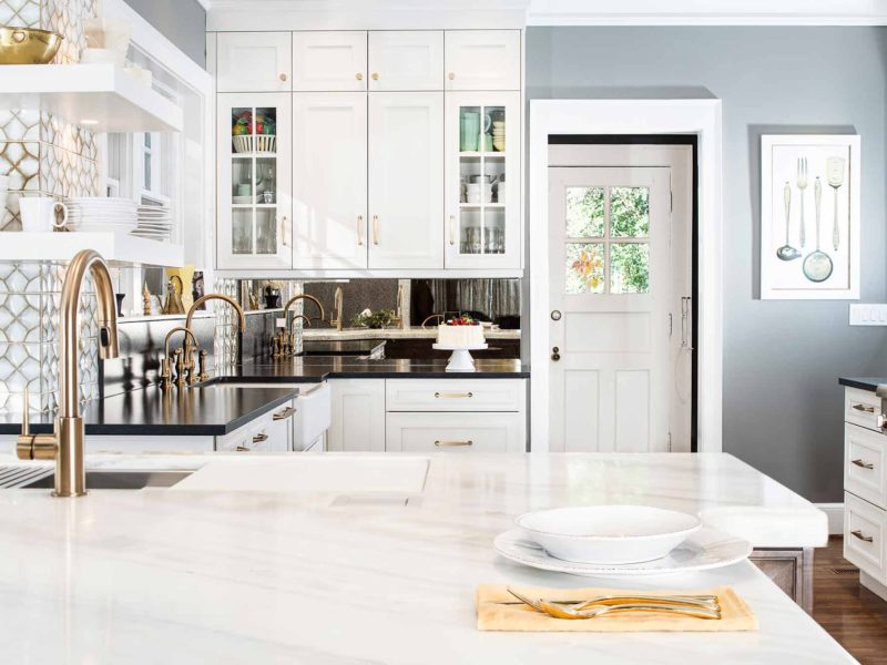 Historically Classy 3 beautiful kitchen with mirror backsplash