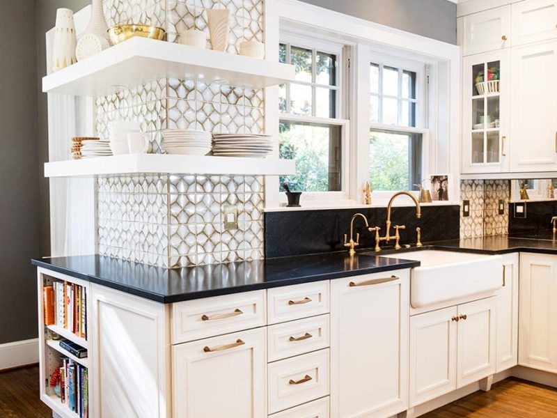 Historically Classy 9 beautiful kitchen with tile backsplash, open shelves and farmhouse sink