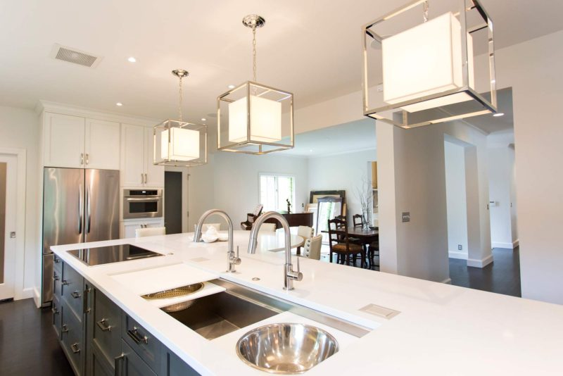 White Done Right 10 elegant open kitchen and Galley Workstation large stainless steel kitchen sink and induction cooktop in island